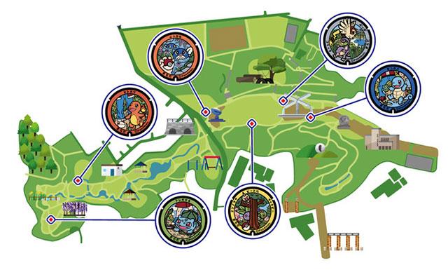 芹谷公園的「寶可夢人孔蓋」地圖
