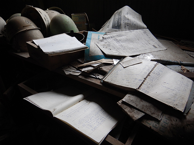 Actual notebooks with records of stonemasons entering the tunnel