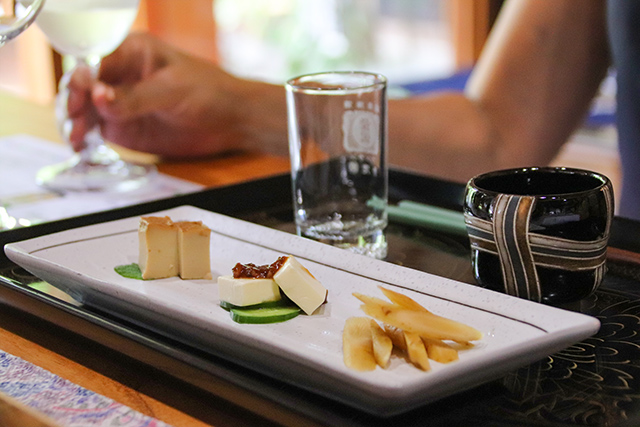 Smoked Tofu, Cheese and Burdock were offered as an appetizer