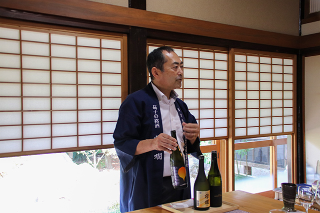 The CEO Mr Tonoike giving lectures on the sake made at the brewery